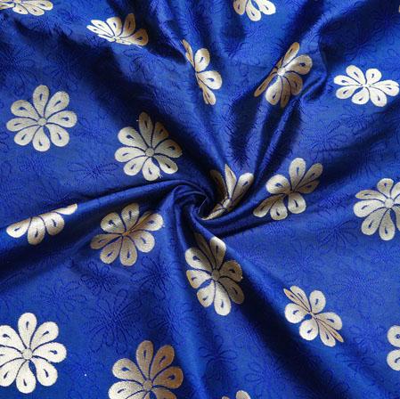 Blue Golden Floral Brocade Silk Fabric-12547