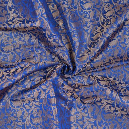 Blue Golden Floral Chanderi Zari Fabric-12829