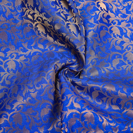 Blue Golden Floral Chanderi Zari Silk Fabric-12145