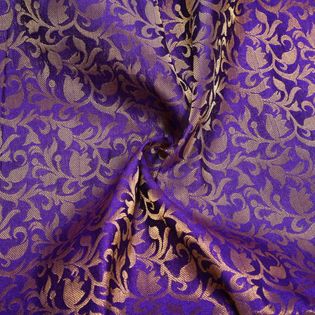 Blue Golden Floral Chanderi Zari Silk Fabric-12147