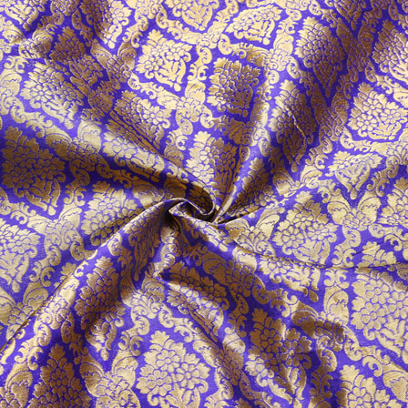 Blue Golden Floral Chanderi Zari Silk Fabric-12427