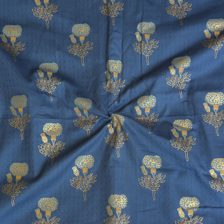 Blue Golden Floral Jam Cotton Fabric-15137