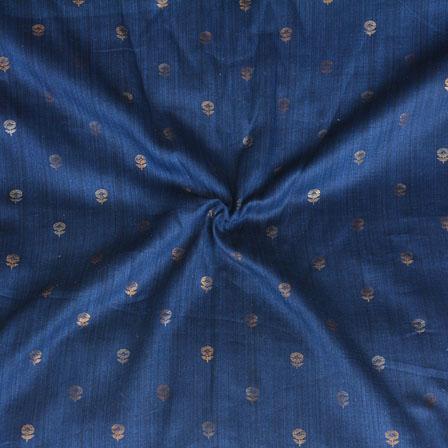 Blue Golden Floral Print Jam Cotton Fabric-15222