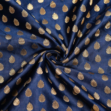 Blue Golden Floral Satin Brocade Silk Fabric-12137