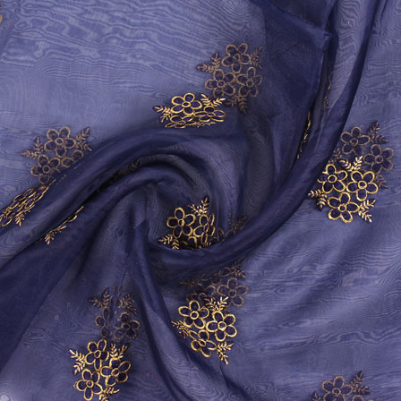 Blue Golden Flower Organza Fabric-51506