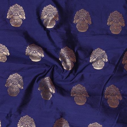 Blue Golden Flower Pot Brocade Silk Fabric-9232