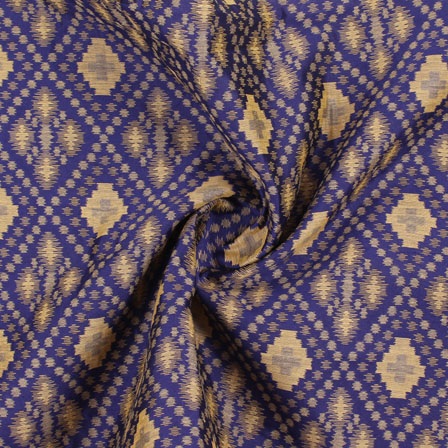 Blue Golden Jacquard Cotton Fabric-9007
