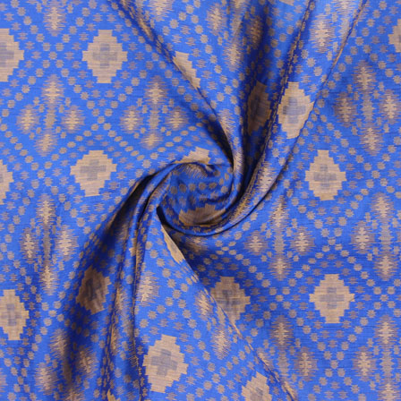 Blue Golden Jacquard Cotton Fabric-9008