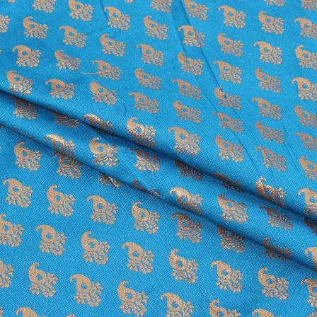 Blue Golden Paisley Brocade Silk Fabric-9068