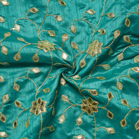 Blue Golden Embroidery Silk Paper Fabric-18500
