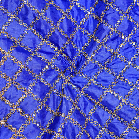 Blue Golden Embroidery Silk Paper Fabric-18616