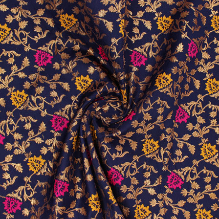 Blue Golden Pink and Yellow Floral Brocade Silk Fabric-9105