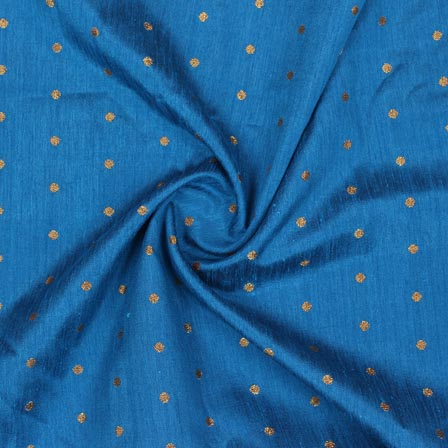 Blue Golden Polka Brocade Silk Fabric-9359