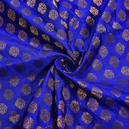 Blue Golden Polka Chanderi Zari Silk Fabric-12230