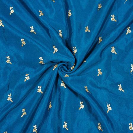 Blue Golden Polka Chinon Embroidery Silk Fabric-18920