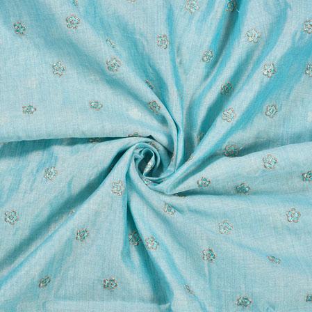 Blue Golden Polka Flower Burbari Embroidery Fabric-28281