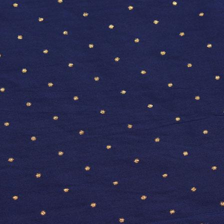 Blue Golden Polka Taffeta Silk Fabric-9093