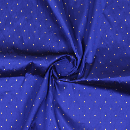 Blue Golden Polka Taffeta Silk Fabric-9060
