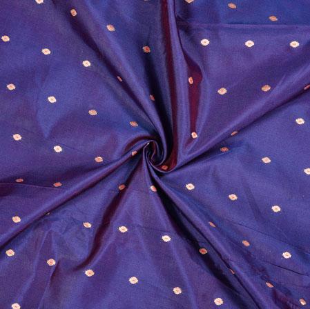 Blue Golden Polka Zari Taffeta Silk Fabric-12660