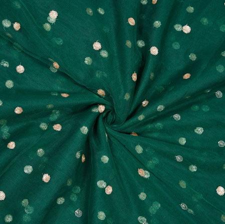Blue Golden Sequin Net Fabric-19002