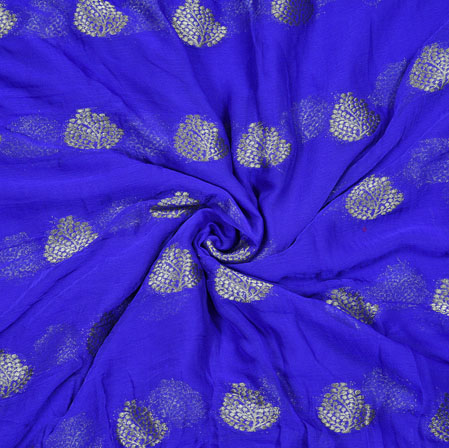 Blue Golden Tree Chiffon Nazmin Fabric-41142