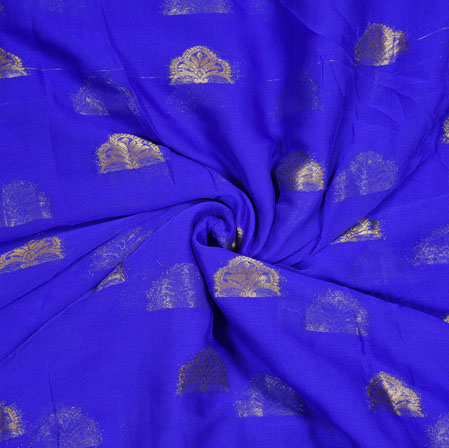 Blue Golden Tree Chiffon Nazmin Fabric-41165