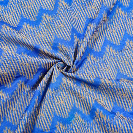 Blue Golden Zig-Zag Jaquard SIlk Fabric-12444