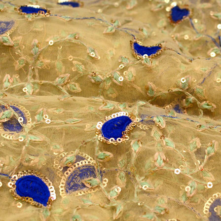 Blue-Golden and Beige Paisley Pattern Embroidery Net Fabric-5213