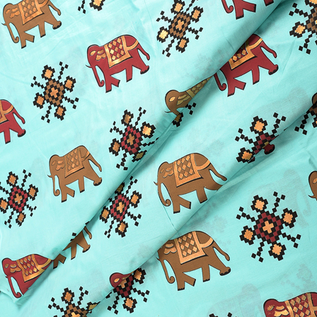Blue-Golden and Brown Elephant Jam Cotton Silk Fabric-75151