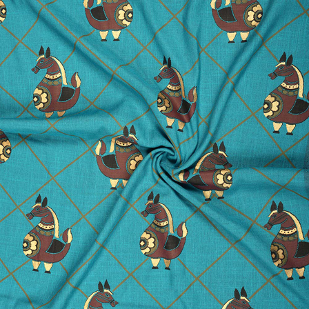 Blue-Golden and Brown Rayon Slub Fabric-75089