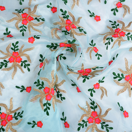 Blue-Golden and Green Flower Organza Embroidery Fabric-51210