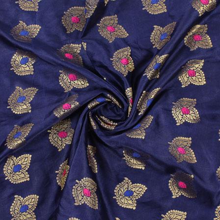 Blue Golden and Pink Banarasi Silk Fabric-8954