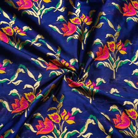 Blue Golden and Pink Floral Banarasi Silk Fabric-12042