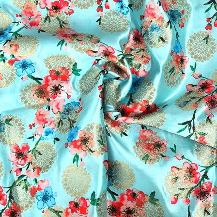 Blue-Golden and Pink Floral Design Digital Banarasi Silk Fabric-24037