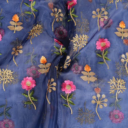 Blue-Golden and Pink Flower Design Organza Embroidery Fabric-51056