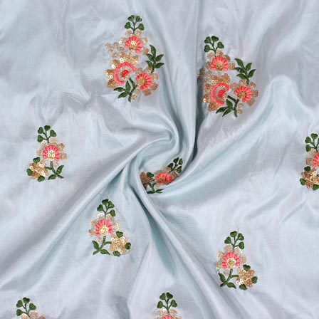 Blue Golden and Pink Jalbari Embroidery Silk Fabric-61037