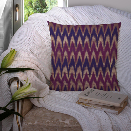 Blue-Golden and Purple Silk Cushion Cover-35019