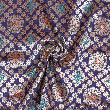 Blue Golden and Red Floral Banarasi Silk Fabric-9273