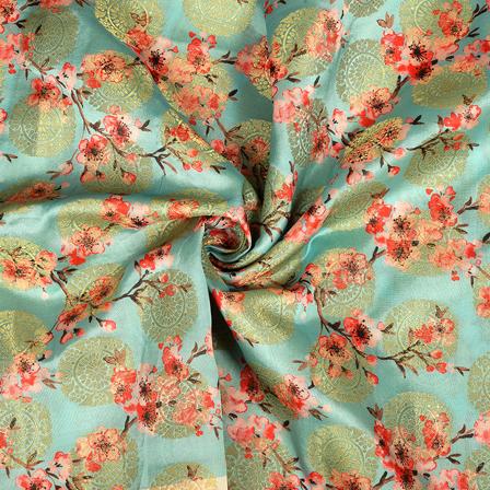Blue-Golden and Red Flower Digital Banarasi Silk Fabric-24053