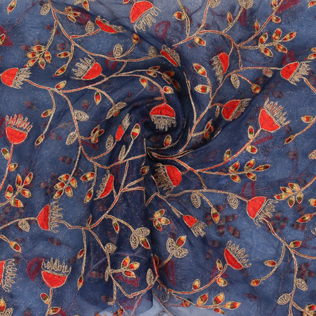 Blue-Golden and Red Flower Organza Embroidery Fabric-51422