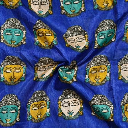 Blue Gray Budha Print Manipuri-Silk Fabric-18024