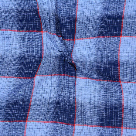 Blue Gray Check Handloom Khadi Cotton Fabric-40559