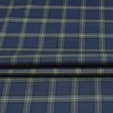 Blue Gray Check Wool Fabric-90131