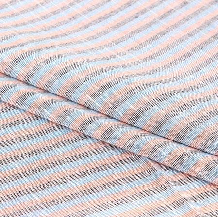 Blue Gray Stripe Handloom Cotton Fabric-40900