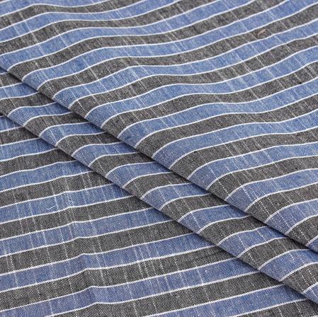Blue Gray Stripe Handloom Cotton Fabric-40937