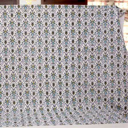 Blue-Gray and Cream Handmade Paisley Shape Kantha Quilt-4358