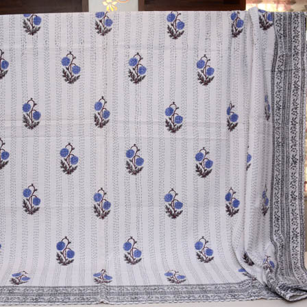 Blue-Gray and Cream Handmade Tree Pattern Kantha Quilt-4360