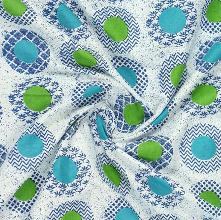 Blue Green Block Print Cotton Fabric-16050