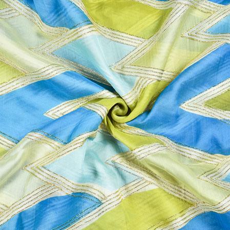 Blue Green DIgital Georgette Fabric-19351