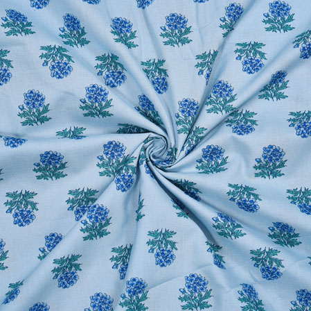 Blue Green Floral Cotton Fabric-28110